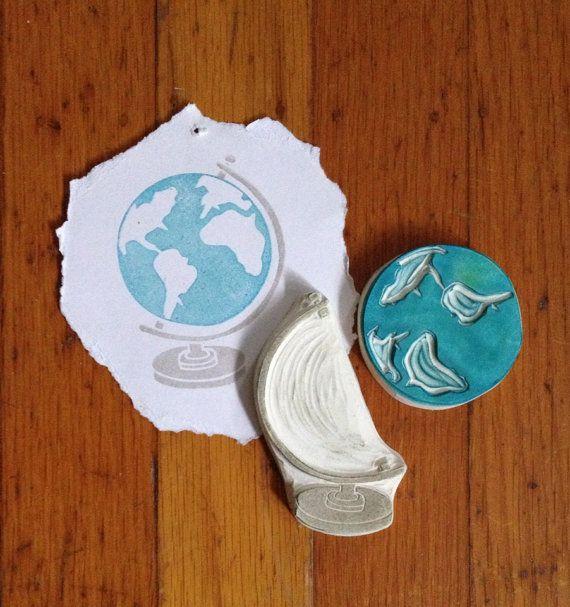 Globe Rubber Stamp Set Hand Carved