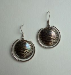 Coloured and scratched sterling silver earrings  Design&Handmade by K.Tokar