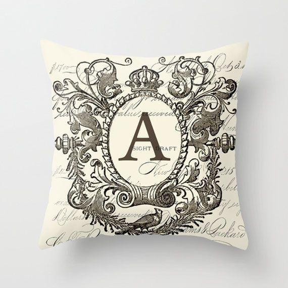 Throw Pillow Cover - Crowned Framed Monogram on Vintage Ephemera - 16X16, 18X18, 20X20 - Pillow ...