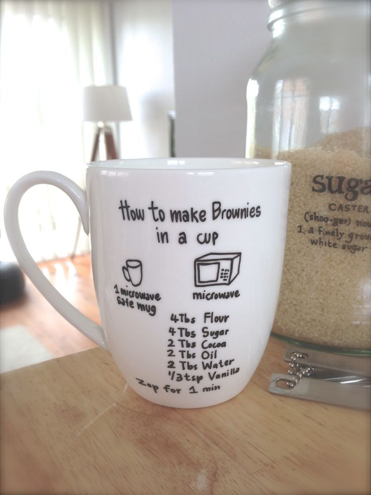 Brownie in a cup. This would be great as a gift...sharpie the instructions onto mug, add the dry ingredients and wrap..