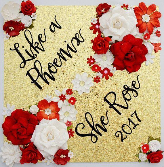 Like a Phoenix She Rose Graduation Cap design // follow us Motivation2Study for …