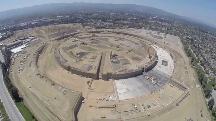 A Drone's Eye View of Apple's Headquarters Under Construction in Cupertino, California  (it looks like Han Solo's Millinium Falcon from Star Wars, doesn't it?)
