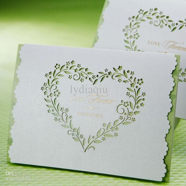 Wholesale Wedding Invitations   Buy Pure Elegant Heart Shaped Cutout Wedding  Invitations Cards In Green Customized