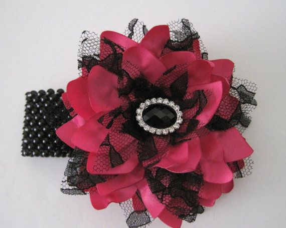 Corsage Bracelet Bright Pink Satin with Black Lace and Black