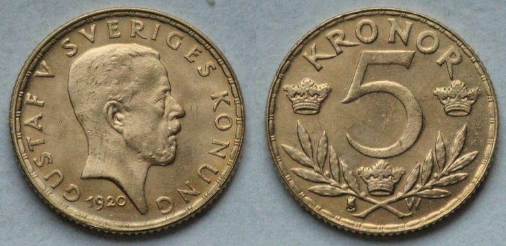 Gustavs 5-krona 1920:   hade en upplaga på 103000 exemplar. Detta var det första porträttmyntet som var graverat av Erik Lindberg som 1916 tog över efter sin far Albert Lindberg.