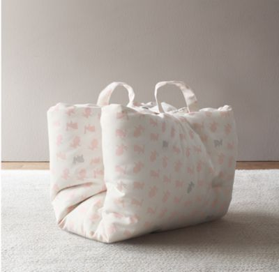 RH Baby & Child's Printed Cotton Nap Mat:A soft and cushy mat for naps away from home. Printed with our sweet elephants or bunnies on one side and coordinating stars on the other, it's outfitted with a built-in pillow for added comfort and two carrying handles for toting around.