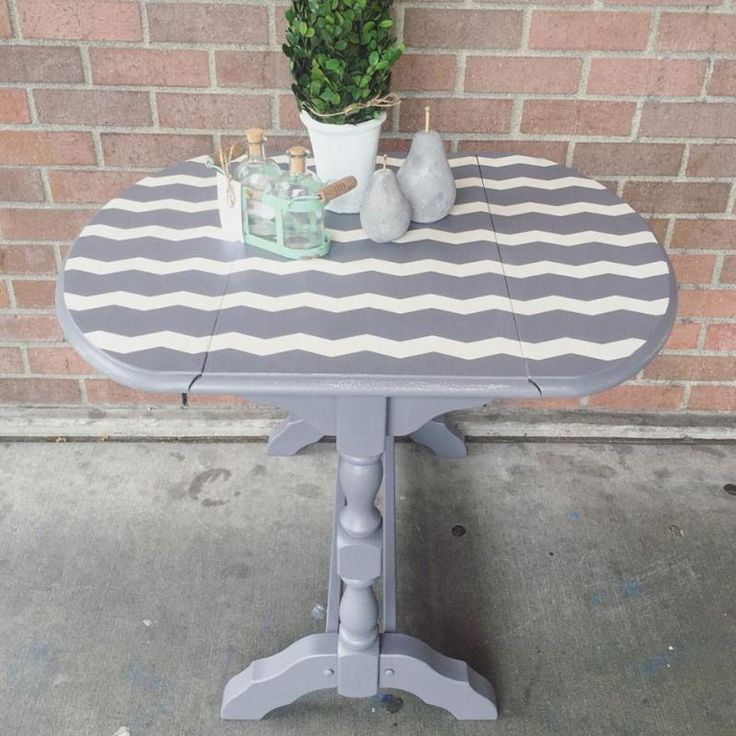 Striped Driftwood And Antique White Side Table