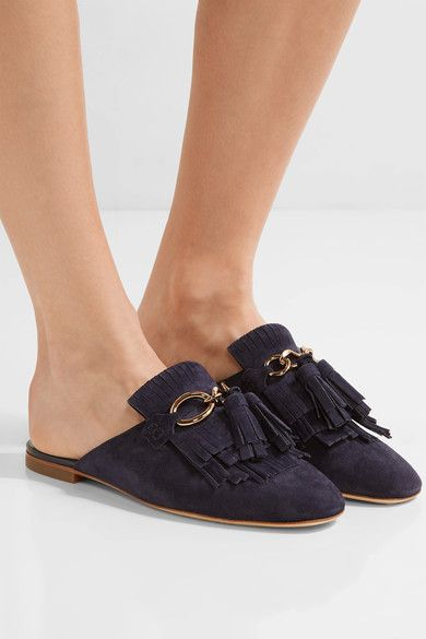 Tod's - Fringed Suede Slippers - Midnight blue - IT39.5