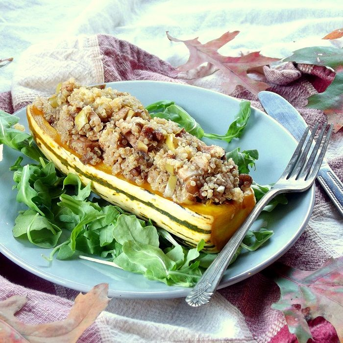 Five Spice Roasted Apple and Quinoa Stuffed Delicata Squash | Recipe ...