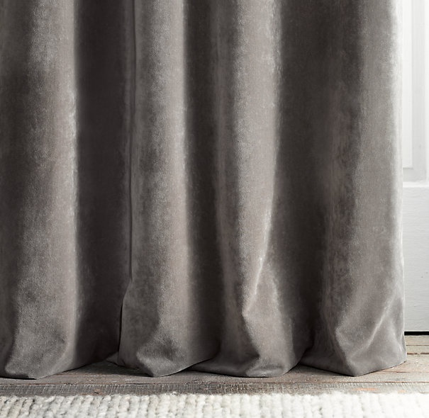 brushed velvet, comes in mocha as well, curtains same color as sofa but different texture?
