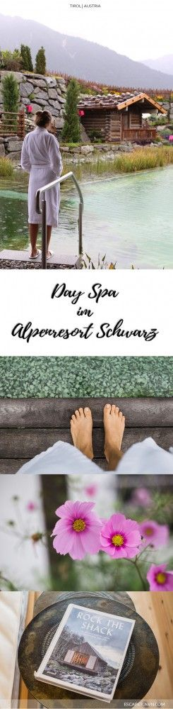 Ein Tag im Wellnesshotel Alpenresort Schwarz in Mieming | Tirol. Day Spa Highlights: Bergsee, urige Jägersauna, Ruheraum mit Bergblick & Salatbuffet