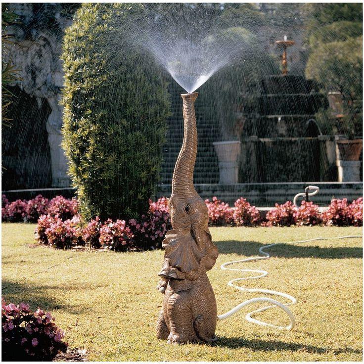 Tiny the Elephant Lawn Sculpture and Garden Sprinkler (connects to garden hose) - Garden Fountains & Outdoor Decor
