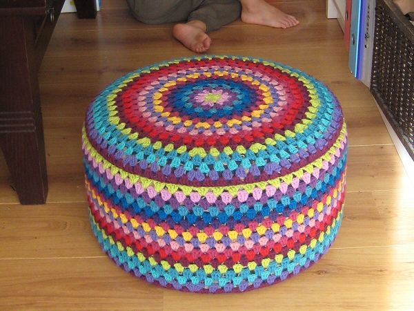 40 best images about crochet stools ottoman covers on pinterest wool ottomans and ravelry - Crochet pouf ottoman pattern free ...