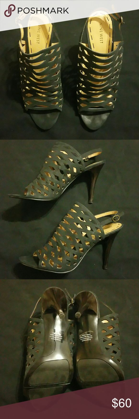 Nine West heeled leather sandals Black leather nine west heeled sandals. New in box, never worn Nine West Shoes Heels