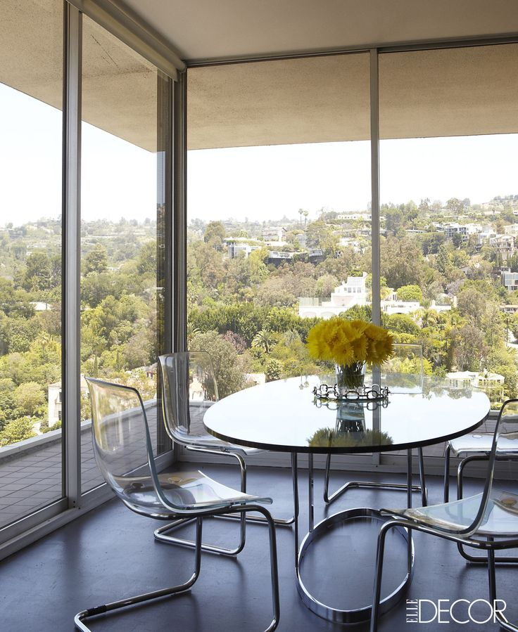 High Above The Hollywood Hills, Producer Ellen Rakietenu0027s Breakfast Area  Features IKEA Chairs Surrounding A