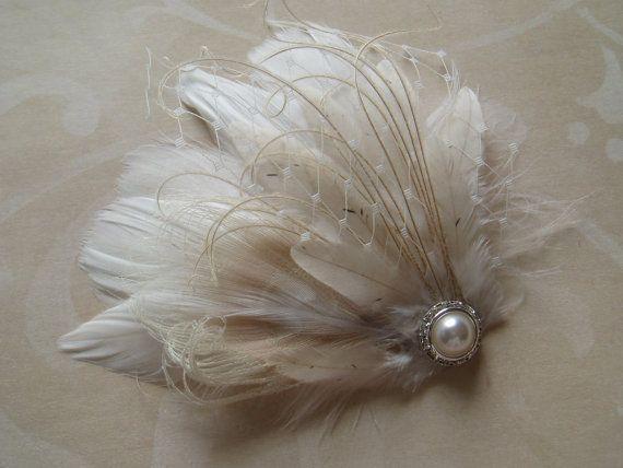 Wedding Hair Piece, Bridal Head Piece, Feather Hair Clip, Hair Accessories, Fascinator Ivory Cream Fall Autumn pearl crystal - READY TO SHIP