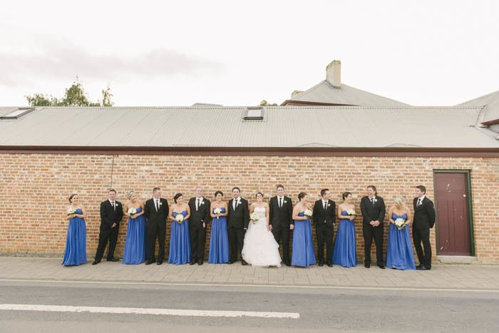 The blue of the bridesmaids dresses is outstanding