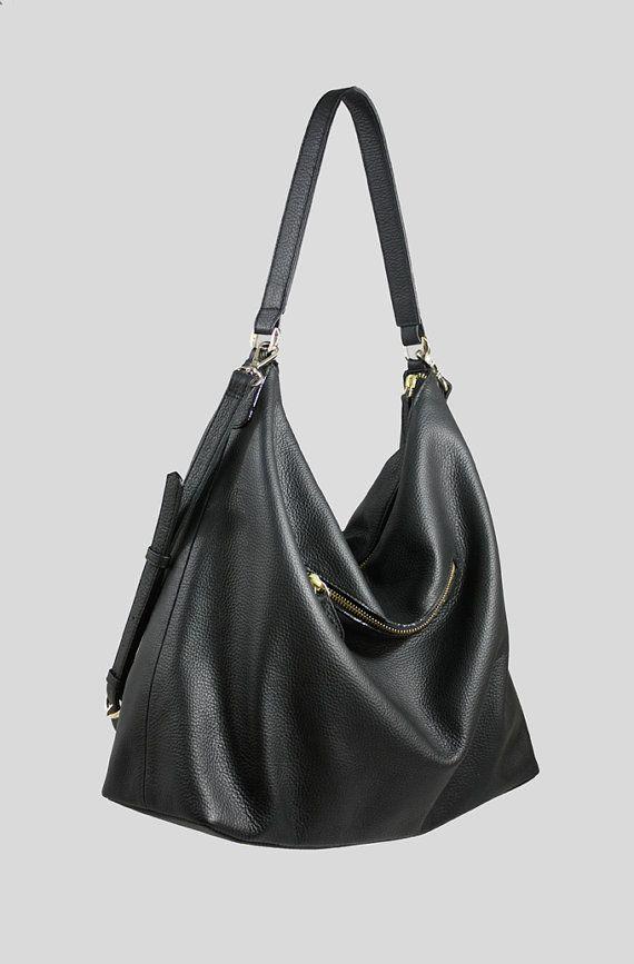 aa8772514b NELA Black Leather Hobo Bag LARGE Shoulder Bag by MISHKAbags …