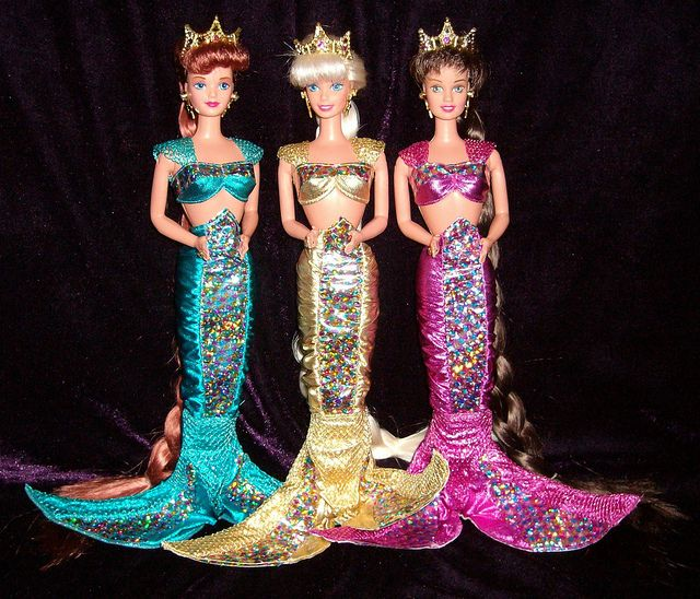 Jewel Hair Mermaid Barbie- My little brothers cut their hair and chewed their hands into flat fins!