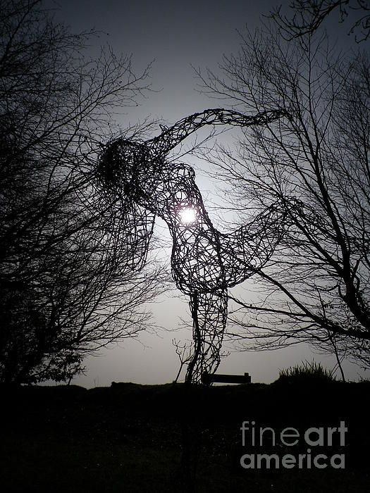 """The wonderful """"Joy of Spring"""" galvanized wire sculpture by the talented Ed Netley taken against the solar eclipse here today 20 March 2015. The sculpture is currently exhibited here in our Sculpture Gardens at West Down House, Bradworthy, Devon. Photo by & copyright Richard Brookes."""