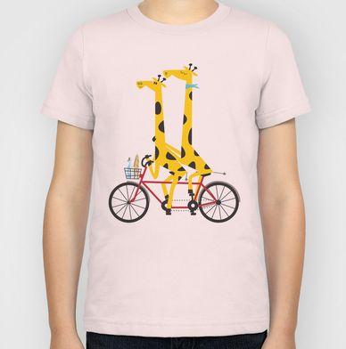 Tandem Giraffes kids tee. Available in multiple colours at http://society6.com/inkrobin/Tandem-Giraffes_Kids-Tee#30=256