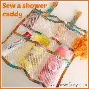 Utilizzare tessuto di maglia per cucire questo carrello doccia o organizzatore