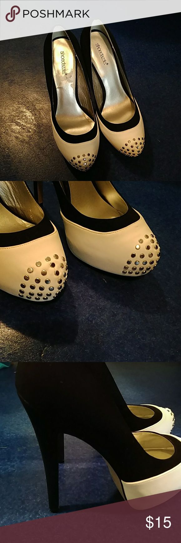 Black and white shoe dazzle pumps Two tone black and white pumps with flat silver studs on toes Shoe Dazzle Shoes Heels