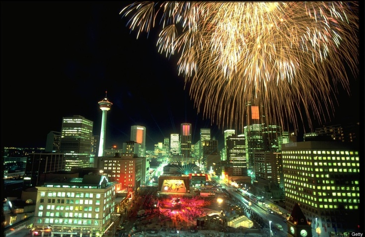Calgary, Canada Fireworks explode above the skyline of Calgary during the opening ceremony for the 1988 Winter Olympics held in Calgary in Canada. (Bob Martin, Getty Images)