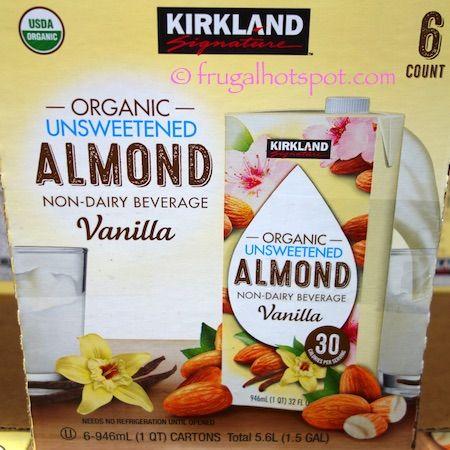 Kirkland Signature Organic Unsweetened Vanilla Almond Non-Dairy Beverage.