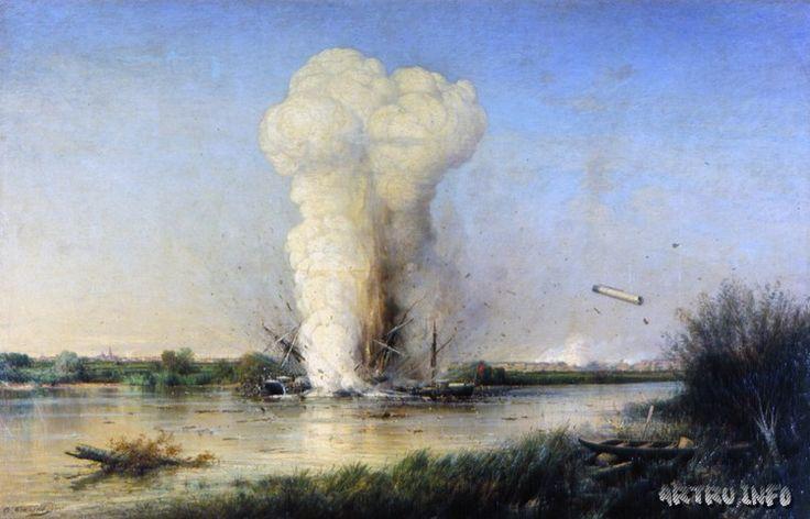 Взрыв турецкого броненосца «Люфти-Джелиль» на Дунае 29 апреля 1877 года