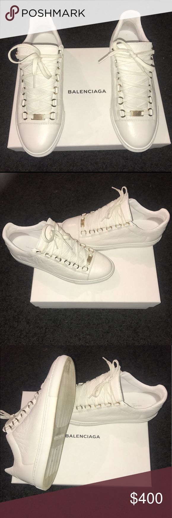 100% Authentic  Balenciaga Low Top Arena Sneakers All White with Gold Detail, Balenciaga Arena Low Top sneakers. Worn only 3X Balenciaga Shoes Sneakers