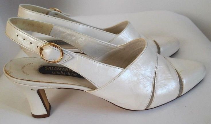 Salamander Women's white leather heels made in Germany SIZE  7 F1/2  #Salamander #Slingbacks