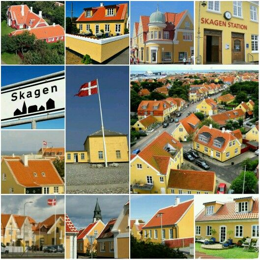 Yellow and Red Houses in Skagen, Denmark