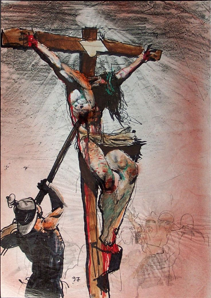 Solemnity of the Sacred Heart of Jezus | 2014 | Catholic Mass Readings | A Roman pierces Jesus' side with a spear (Simon Bisley, © Simon Bisley) | Jn 19:33-35 | But when they came to Jesus and saw that he was already dead, they did not break his legs, but one soldier thrust his lance into his side, and immediately blood and water flowed out. An eyewitness has testified, and his testimony is true; he knows that he is speaking the truth, so that you also may (come to) believe.