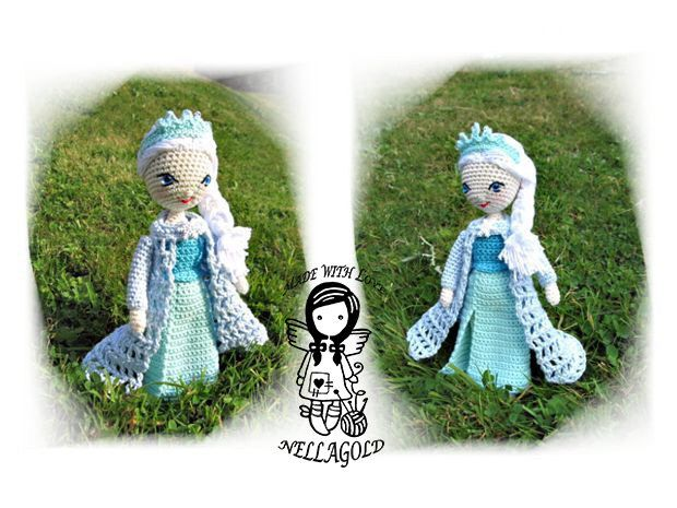 Crochet PATTERN, FROZEN, Queen Elsa, Amigurumi Crochet Doll, DIY Pattern 110 by NellagoldsCrocheting on Etsy https://www.etsy.com/listing/194401114/crochet-pattern-frozen-queen-elsa