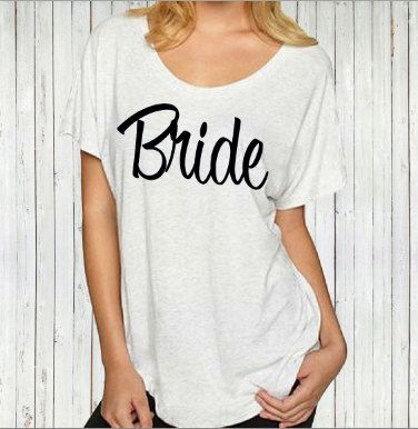 Slouchy off the shoulder Bridesmaid t-shirt. by beforethebells