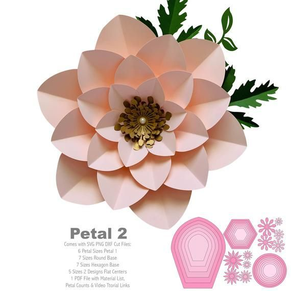 Svg Png Dxf Petal 5 Paper Flowers Template Flat Centers And Etsy Giant Paper Flowers Paper Flower Template Paper Flowers