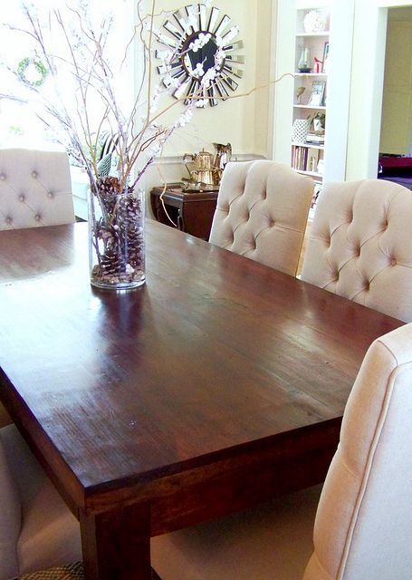 What a lovely makeover cassie at hi sugarplum lightened for Dining room sets with tufted chairs