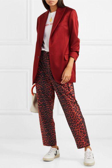 8dc22687 GANNI | Bijou leopard-print cotton-twill tapered pants | NET-A-PORTER.COM