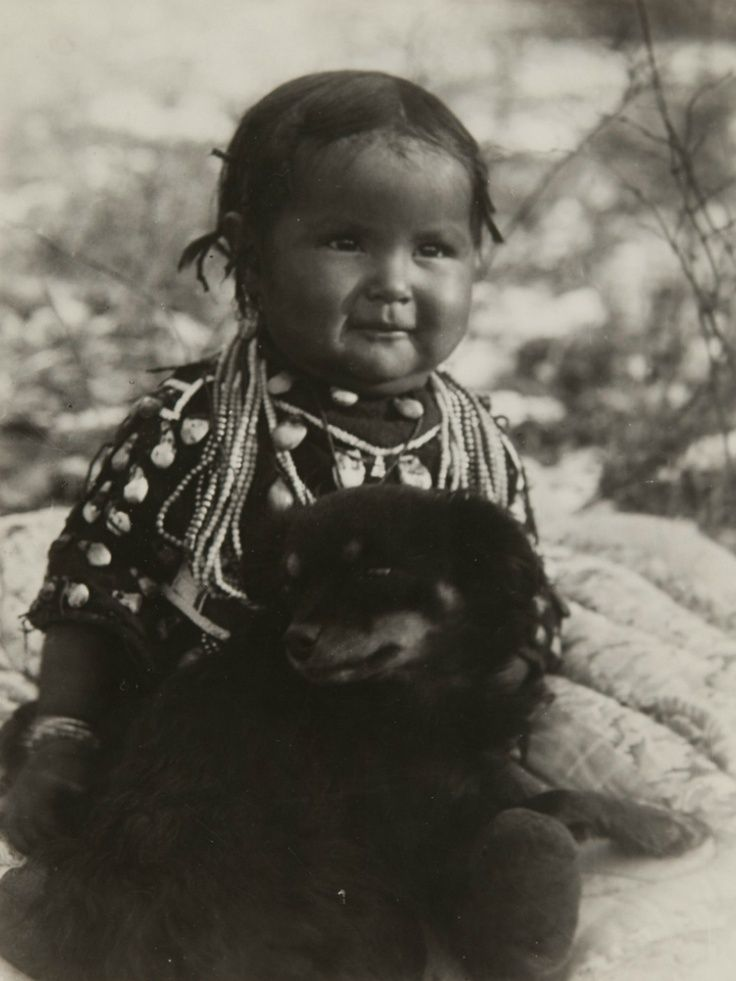 Native American Child And Dog