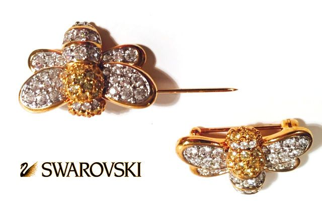 Swarovski Authentic Swan Hallmarked Brooch Gold Plated Bee Pin Crystals Wings in Pins & Brooches   eBay
