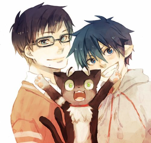 Yukio, Rin, and the adorable Kuro. I'd totally have a cat familiar if I were an exorcist.