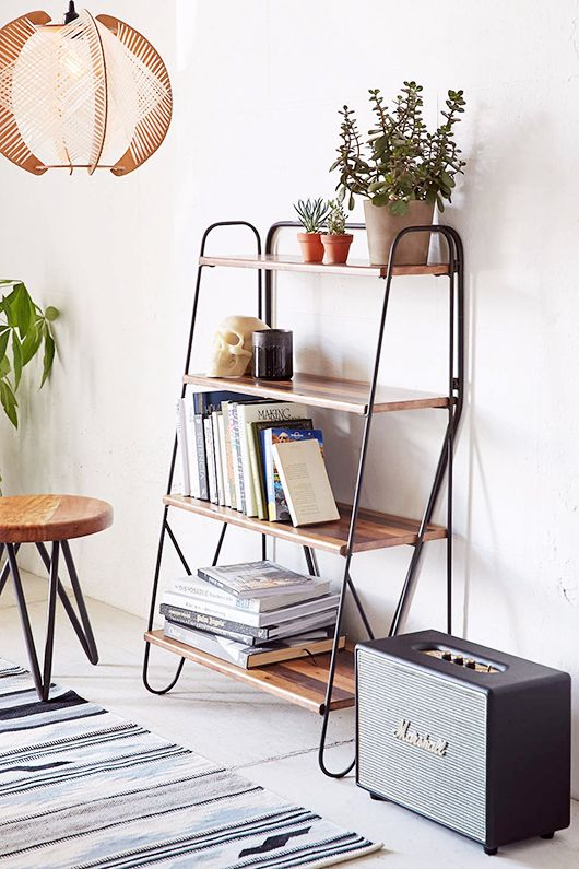 hairpin turns. / sfgirlbybay. one big hairpin leg max wood bookshelf from urban outfitters.