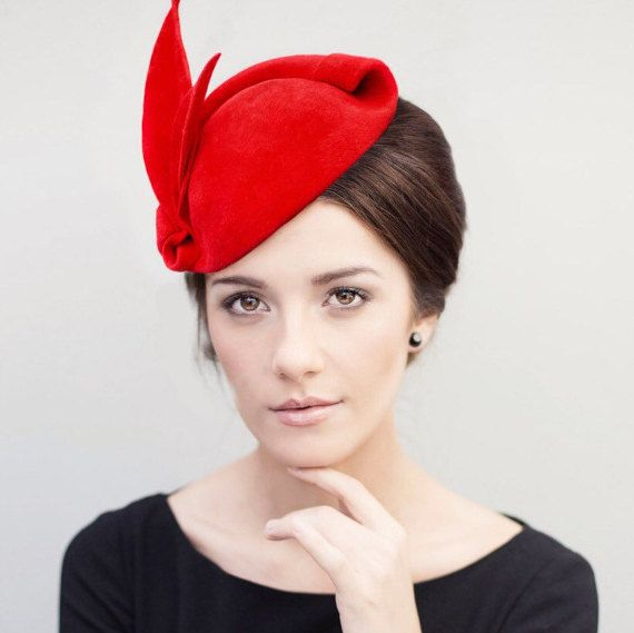 Red Fascinator Hat Old Hollywood Glamour Pin by MaggieMowbrayHats