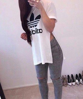 shirt addidas shirt white dope white t-shirt side split split shirt adidas brand
