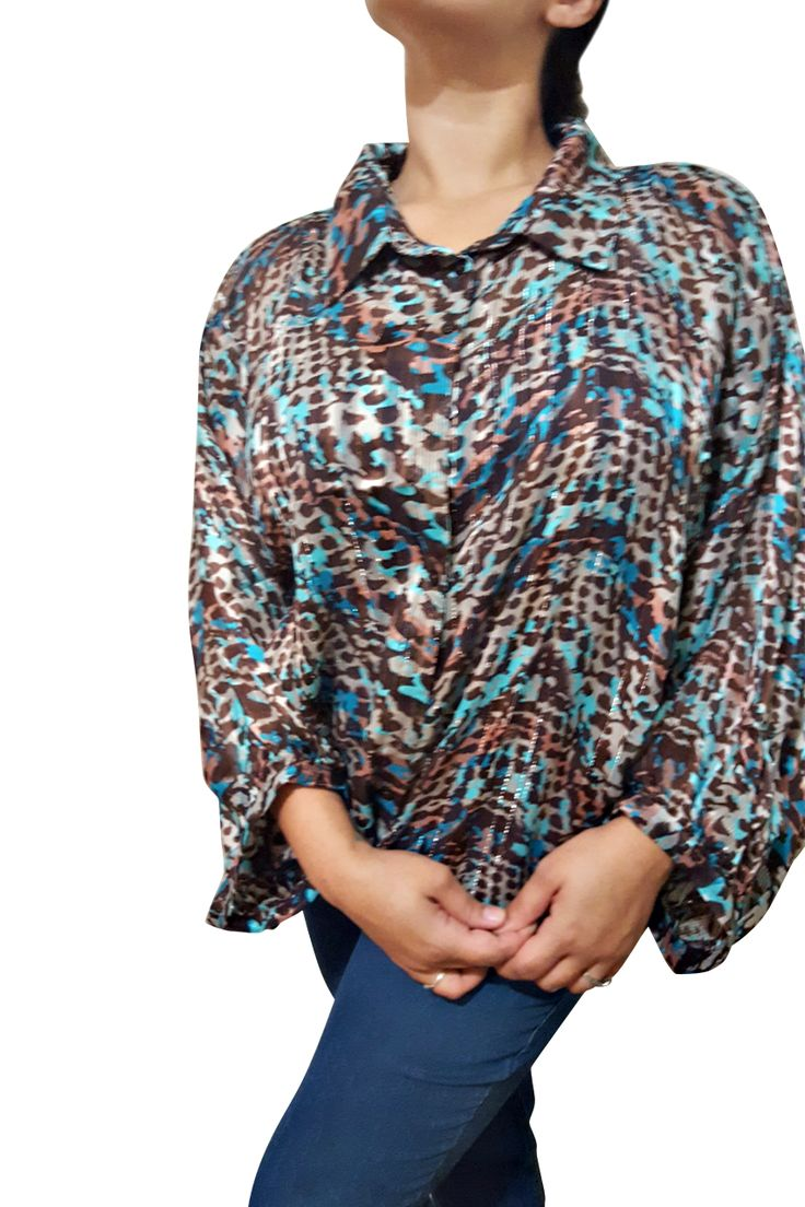 Plus Size Button Down Turquoise Camo Top! 3/4 Long Sleeves. - 5dollarfashions.com