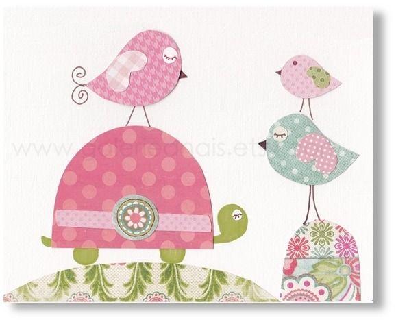 Illustration pour chambre d'enfant fille. tortue