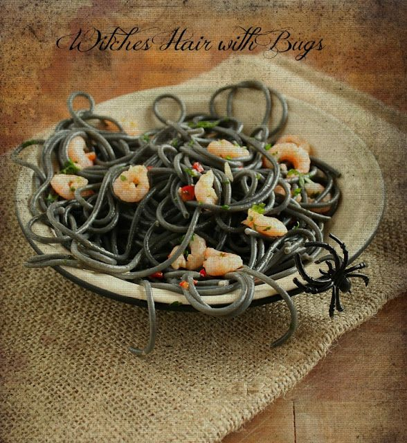 Vanilla Clouds and Lemon Drops: Witches Hair with Bugs {Spaghetti with Prawns}