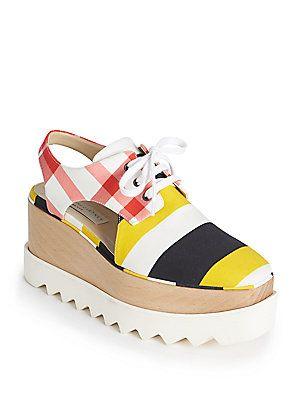 Stella McCartney Stripe & Gingham Cutout Platform Derby Shoes
