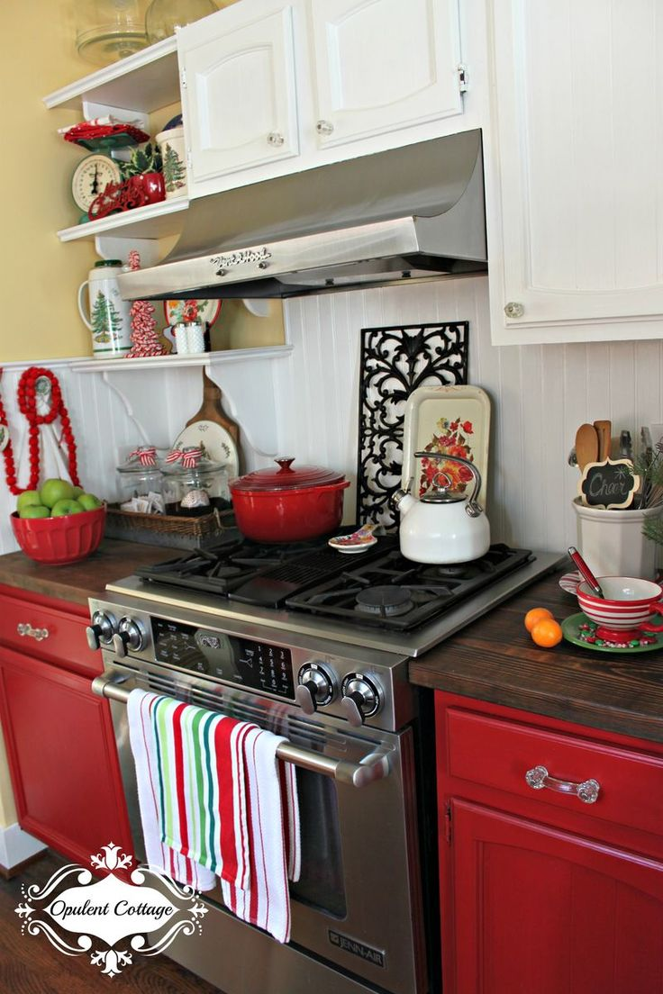 White Kitchen Christmas Decorating Ideas: 25+ Best Ideas About Red Cabinets On Pinterest